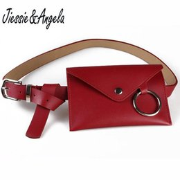 Wholesale Pillow Packs NZ - Jiessie & Angela Vintage Women Waist Bags PU Leather Envelope Bag For Woman Black Solid With Big Ring Fanny Pack Bolso