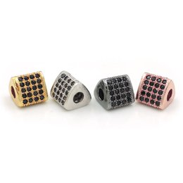 $enCountryForm.capitalKeyWord UK - 9*9*8mm Micro Pave Black CZ Triangle Beads Fit For Men And Women Making DIY Bracelets Or Necklaces Jewelry