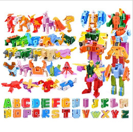 $enCountryForm.capitalKeyWord Australia - Gudi 26 English Letter Transformer Alphabet Robot Animal Creative Educational Action Figures Building Block Model Toy Kids Gifts Y190606