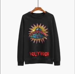 Chinese  2018 men and women in the spring and autumn sweater craft sequins embroidery ladies European letters - loose hoodies sweatshirt-men-patchwor manufacturers