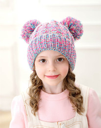 $enCountryForm.capitalKeyWord Australia - Fashion-Kid Knit Crochet Beanies Hat Girls Soft Double Balls Winter Warm Hat 12 Colors Outdoor Baby Pompom Ski Caps WCW710