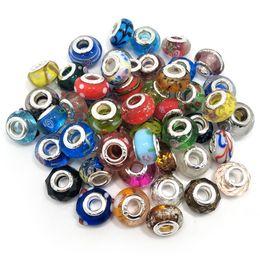 Brand New Mix Styles Glas 925 stering cord große loch lose perlen passen europäische pandora schmuck Diy armband charme 50 stücke pro los im Angebot