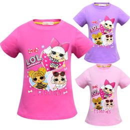 kids cartoons t shirts wholesale Australia - T shirt 3D color Printing New Cartoon Girls Short sleeve T-shirt Summer Breathable children's wear Kids Children Outwear Top Clothing 2242