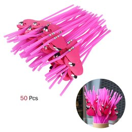 disposable plastic straw UK - Eco-Friendly 100pcs Tropical Drinking Straws Luau Wedding Hawaiian Umbrella Flamingo Flower