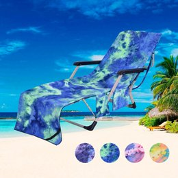 Storage Chair Australia - Beach Towel Beach Chair Cover Lazy Bed Companion Quick-Dry Chaise Lounge Towel Cover For Pool With Storage Pocket VT0041