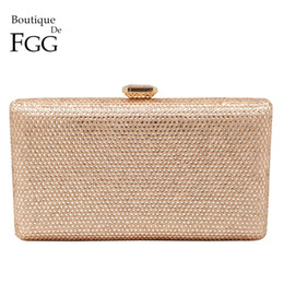 crystal purple clutch NZ - Boutique De FGG Champagne Crystal Clutch Evening Bags Women Minaudiere Bag Wedding Cocktail Dinner Ladies Handbags and Purses T190925