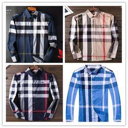Großhandel 2019 Amerikanische Business-Marke kariertes Hemd mit Selbstanbau, Modedesigner-Marke langärmeliges Baumwoll-Freizeithemd gestreiftes Kleid 11