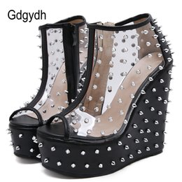 $enCountryForm.capitalKeyWord Australia - Gdgydh 2019 Summer Rivets Boots Open Toe Wedges Platform Female Ankle Boots Patent Leather Metal Accessories Short Size 40