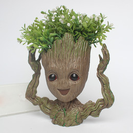 $enCountryForm.capitalKeyWord Australia - Guardians of The Galaxy Flowerpot Tree Man Baby Groot Action Figure Pen Container Doll Cute Model Toys The Avenger Pen Flower Pot Kids Gifts