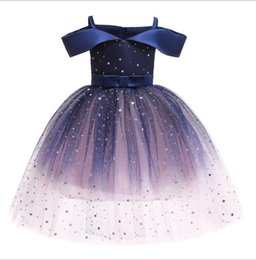 puffy skirt dresses knee length NZ - 2020 new girls' dress summer children's wear Aisha off shoulder princess skirt Sequin puffy dress skirt manufacturer