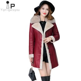 ladies leather jackets Australia - Ladies Winter Leather Jacket Faux Sheepskin Black Long Coat New Plus Size Fur Collar Warm Female Jacket Fashion Fur Coat PU 4XL