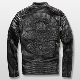 Discount genuine leather collars - Read Description! Asian size motorcycle rider jacket mens leather jacket man's genuine cowhide embroidery skull lea