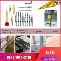 spiral cutters NZ - Set Steel Cones Drill Bits Steps Drill Center Punch Bits Pagoda Shape Spiral Cutter Metric Hole Woodworking Hinge Flu I3