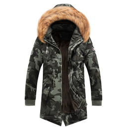 $enCountryForm.capitalKeyWord Australia - Mens military jacket winter parkas long coat camouflage jackets fur collar thick warm overcoat hoodies fashion tops streetwear 2019