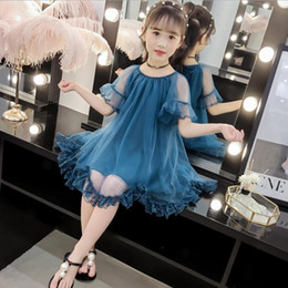 $enCountryForm.capitalKeyWord Australia - Teenage Girls Princess Dress Summer New Kids Dresses For Kids Clothes Fashion Volie Ruffles Lace Children Costume 4-14y Ws763