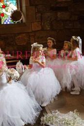 White Tulle Floor Length Girl Dress Australia - 2019 White Short Sleeve Puffy Tulle Flower Girls Dresses Floor Length First Communion Dresses Girls Pageant Gown Custom Made Hot Sale