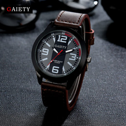 Man Watches Wholesales Australia - Gaiety Fashion Men Watch Casual Black Face Leather Strap Quartz Wristwatch Watches For Men Business Sport Classic Gift Clock