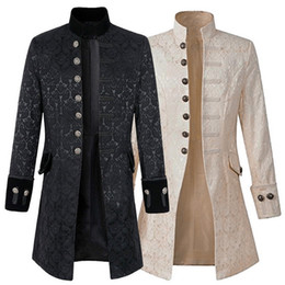 Victorian Coats Australia - Men Steampunk Brocade Jacket Top Male Vintage Long Sleeve Jacket Gothic Steampunk Vintage Victorian Coat Dropshipping