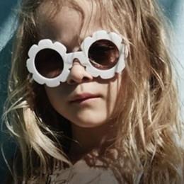 cd89efac5 Bebê menina óculos de sol flor rodada gafas Anti-UV moda vintage óculos de  sol crianças menino menina verão claro tons de lente