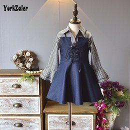 $enCountryForm.capitalKeyWord Australia - Yorkzaler 2019 New Design Girl Clothes Suit Long Sleeve Plaid Shirt+Denim Dress Casual Children's 2 pcs Outfits Cotton Clothing SH190912