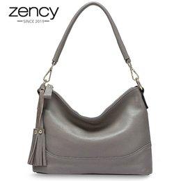 $enCountryForm.capitalKeyWord Australia - Zency Fashion Hobos 100% Genuine Leather Handbag Women Shoulder Bag Black Grey Lady Crossbody Messenger Bags High Quality #113019