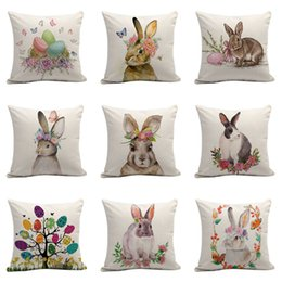 Green Office Chairs Australia - New hot-selling Easter bunny pattern linen pillowcase sofa cushion cover pillow cover home decor office chair cushion Pillow Case