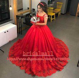 Quinceanera dresses color fuchsia online shopping - Red Saudi Arabic Beaded Wedding Dresses Vintage Appliques Lace Puffy Bridal Dresses Tutu Lace Quinceanera Ball Gowns Plus Size Wedding Gowns