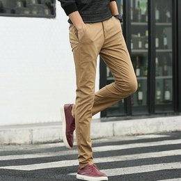 Men Grey Khaki Trousers Australia - Men Pants Casual 97.5% Cotton 2.5% Spandex Spring Autumn Khaki Grey Black Male Full Length Long Straight Chino Man Trousers