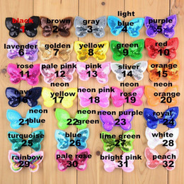 $enCountryForm.capitalKeyWord Australia - 100pcs lot 32 Color U Pick 2.36 Inch Mini Butterfly Applique Sequin Bows Hair Accessories Wholesale Hairbow Supply Bow05 J190507
