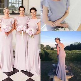 83ffb17b0cc 2019 Long Elegant Mermaid Bridesmaid Dresses Sexy V Backless Capped Sleeves  Maid of Honor Cheap Wedding Guest Dress