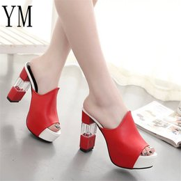 Patent leather Platform sexy shoes online shopping - Designer Dress Shoes Sexy Summer Women Elegant Red High Heel Sandals Peep Toe Platform Crystal Chunky Heel Lady Thick Heel Fashion