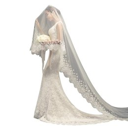 $enCountryForm.capitalKeyWord UK - 1.5 2 3M One-Layer Women Tulle Long Trailing Wedding Veil Wide Embroidered Floral Lace Trim Cloth Petals Romantic Bridal