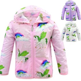 Microfiber Clothes Wholesalers Australia - Baby Unicorn Coat Kids Designer Clothes Baby Girl Sun Protection Clothing 4-10Y Unicorn Jackets for Children Rainbow Unicorn Outwear