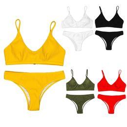 3d1a7b9c5f4 Women Sexy Nylon Bikini Set Deep Scoop Neck Crop Top Cheeky Bottom Thong  Thread Vertical Stripes Solid Color Sport Swimsuit