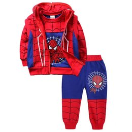 cosplay stitch UK - 3pcs Sets Spiderman Boys Clothing Set Sport Suit Hoodies Sweater Children Clothing for 3 4 5 6 8 year spider man cosplay clothes