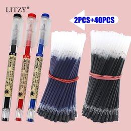 Gel ink pen refill online shopping - 42Pcs mm Black blue Red Ink Gel Pens Set Refills Gel Ink Pen Sketch Drawing School Office Stationery Student Writing Pen
