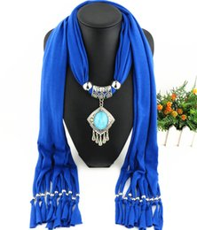 $enCountryForm.capitalKeyWord Australia - New Tassel Scarf Charms Alloy Pendant Necklace Scarf Women Fashion Ethnic Jewelry Necklace Shawl Female Scarves