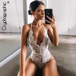 $enCountryForm.capitalKeyWord Australia - Cryptographic Backless Halter Lace Bodysuit Transparent Female Body Hot Sexy Teddies Jumpsuits Women Deep V Sheer Bodysuits Q190524