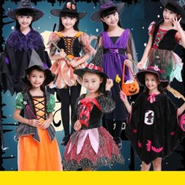 magic girl cosplay NZ - Halloween Kids Witch Performance Cosplay Costume Magic Witch Child Witch Elf Performance Holiday Costume Masquerade Party Girl Dress Up