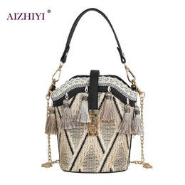 $enCountryForm.capitalKeyWord Australia - Female Fashion Bohemian Ladies Tassel Decor Shoulder Handbags Straw Women Chain Casual Crossbody Messenger Girls Bucket Packs