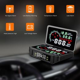 Car Heads Up Display Australia - 2 in 1 TPMS Sensor Temperature Tire Pressure Monitor System Digital HUD Head Up Display Car Excess Speed Alarm