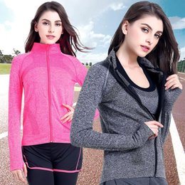 $enCountryForm.capitalKeyWord Canada - Running Jacket Women Girl Long Sleeve Zipper Stand Collar Solid Sports Yoga Jacket Fitness Tracksuits Training Coat Gym Wear