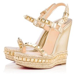 Cloth Red Dress Australia - Famous Ladies Red Bottom Wedge Cataclou Sandals Gold Patent Leather Studded Ladies Ankle Strap Women's Pumps Party Dress EU35-42,With Box