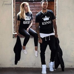 king queens shirts Australia - Summer Lovers Tshirt King Queen Imperial Crown Couple T-shirt Women Men Funny Letter Print T Shirts His And Hers Gifts For Loved
