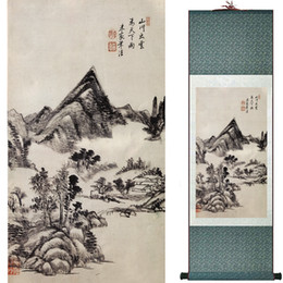 chinese landscape oil paint NZ - Chinese Scroll PaintingMountain And River PaintingChinese Traditional Painting Landscape Art Painting 190610