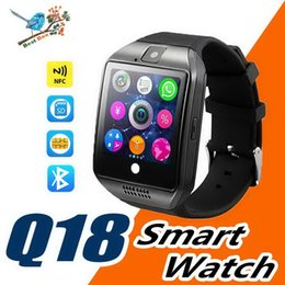 ups trackers NZ - Top Q18 Smart Watch Bluetooth Smart watches for Android Cellphones Support SIM Card Camera Answer Call and Set up Various Language with Box