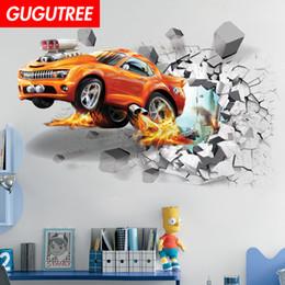 $enCountryForm.capitalKeyWord Australia - Decorate home 3D car cartoon art wall sticker decoration Decals mural painting Removable Decor Wallpaper G-819