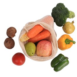 Discount fold machine - 3pcs Reusable Cotton Vegetable Bags Home Kitchen Fruit And Vegetable Storage Mesh Bags With Drawstring Machine Washable
