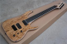 mahogany wood for guitar 2019 - Free Shipping Custom new 24 frets Ash Body Natural Wood Burl Top Blackmachine B7 Special Shape 7 Strings Electric Guitar