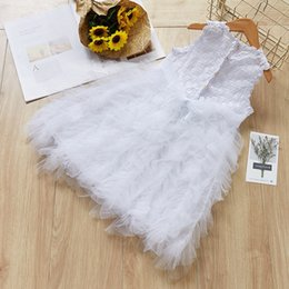 $enCountryForm.capitalKeyWord Australia - Stylish INS Girls Princess Sleevelss Dresses Summer Little Girls Back Button White Ball Gown Tutu Ruffles Lace Collar Children Girls Dresses